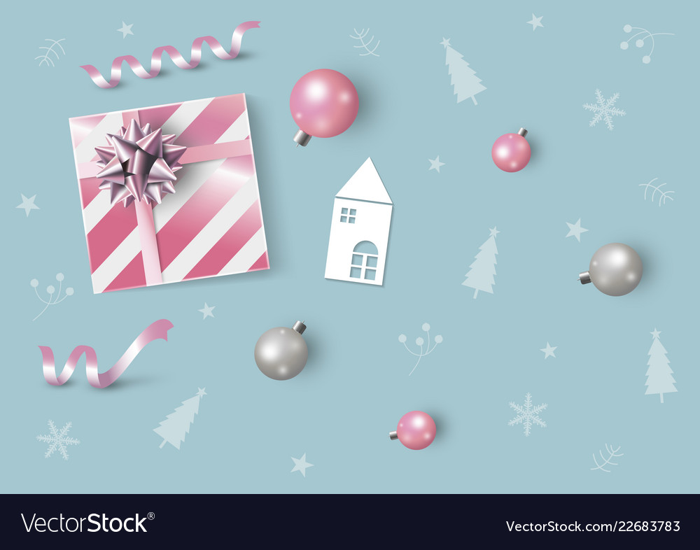 Christmas and new year design of pink gift box