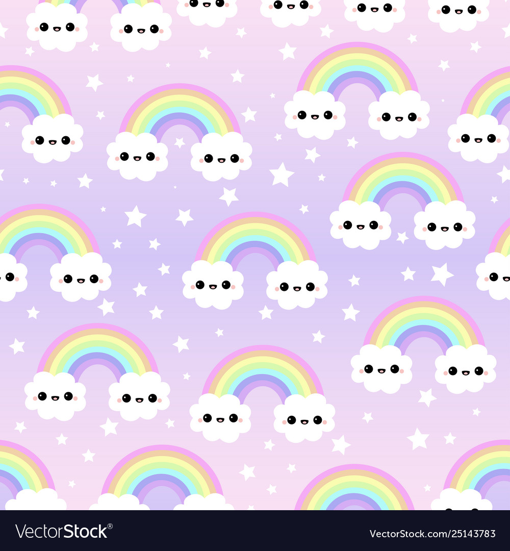 Cloud background rainbow seamless pattern