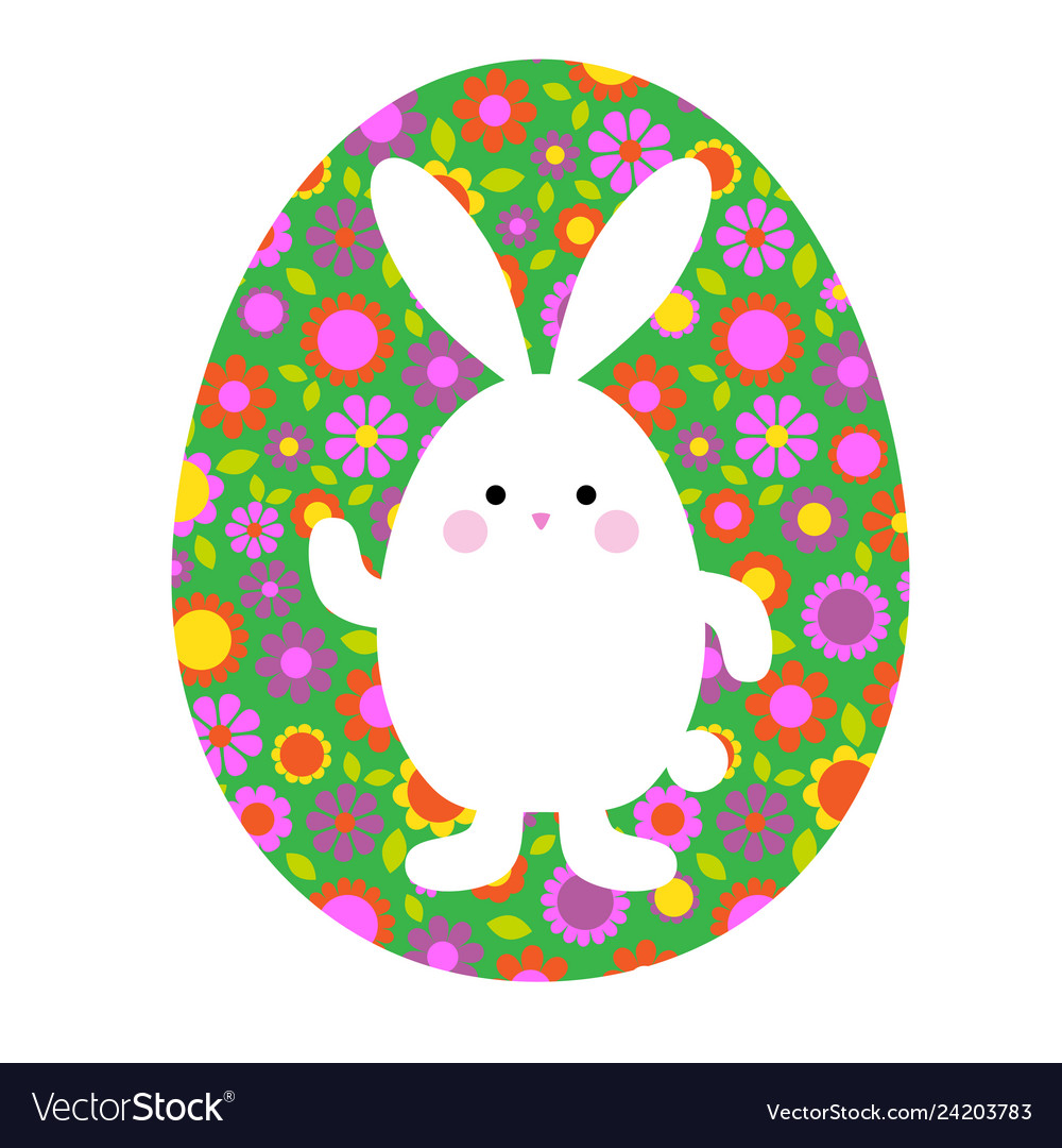 Cute easter bunny on green floral pattern egg