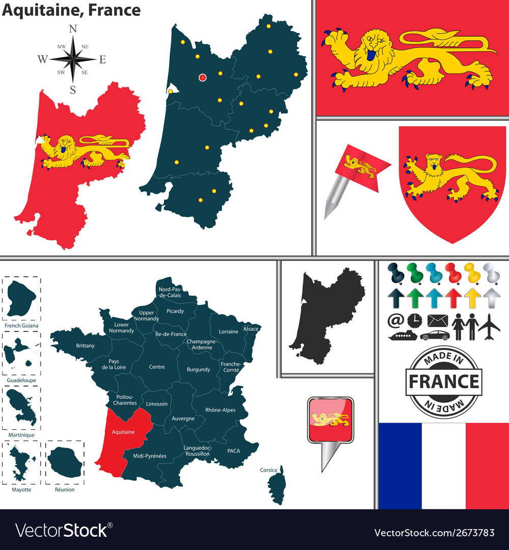 Map Of Aquitaine Royalty Free Vector Image Vectorstock
