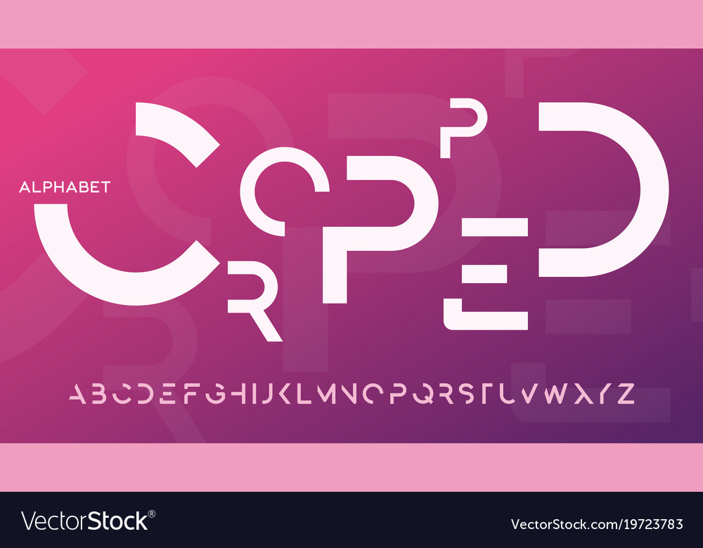 Minimalist Cropped Decorative Typeface Design Vector Image