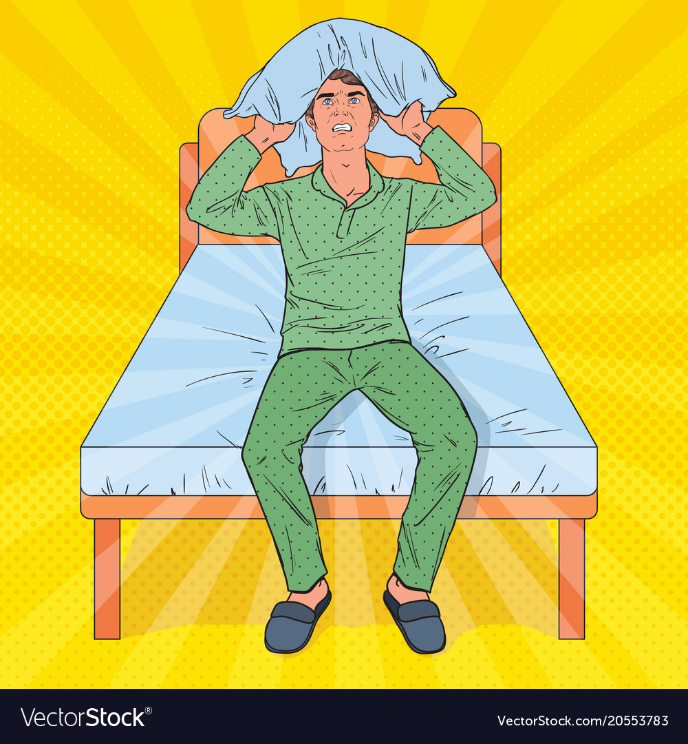 Pop art frustrated man closing ears with pillow vector image