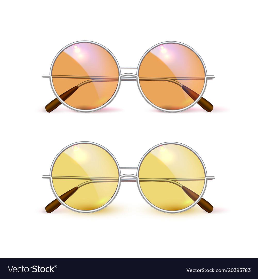 b08af0c135 Realistic eyeglasses retro circle hipster Vector Image
