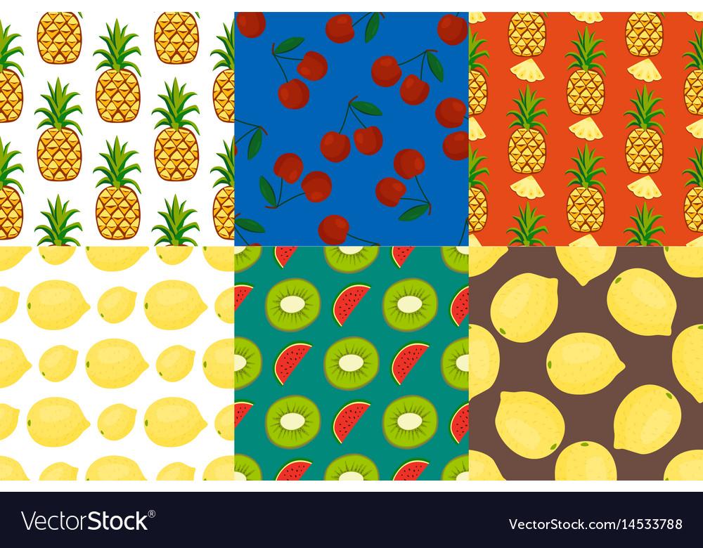 Cartoon fresh fruits in flat style seamless