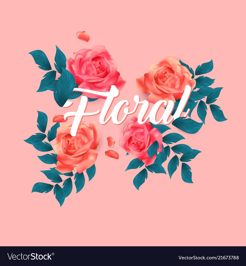 Floral roses design pink background image