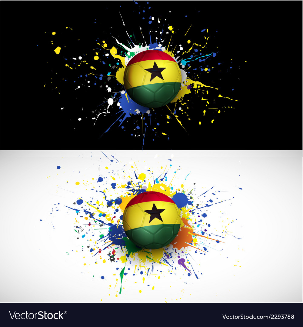 Ghana flag with soccer ball dash on colorful