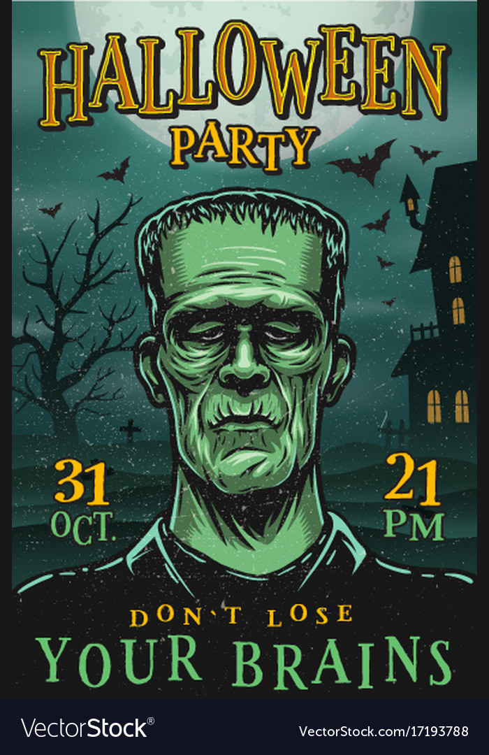 Halloween party poster with monster vector image