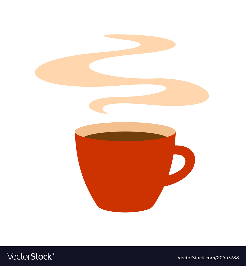 Hot red coffee cup with steam