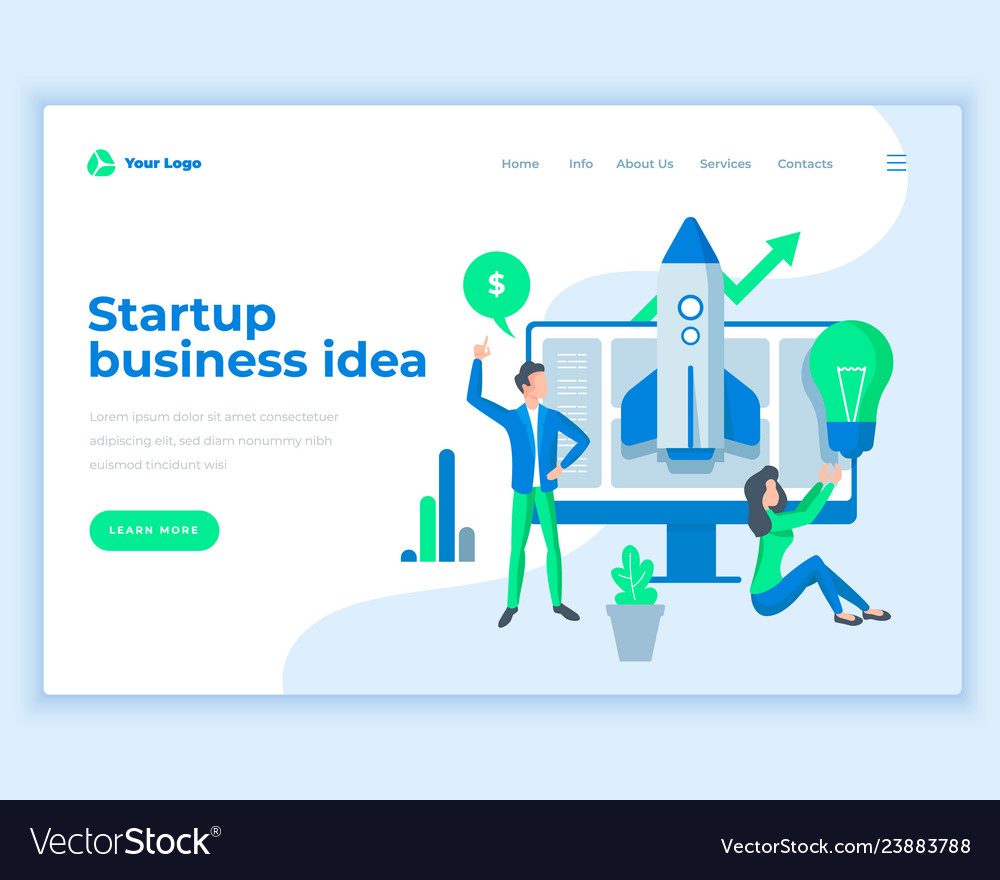 Landing page template startup business ideas