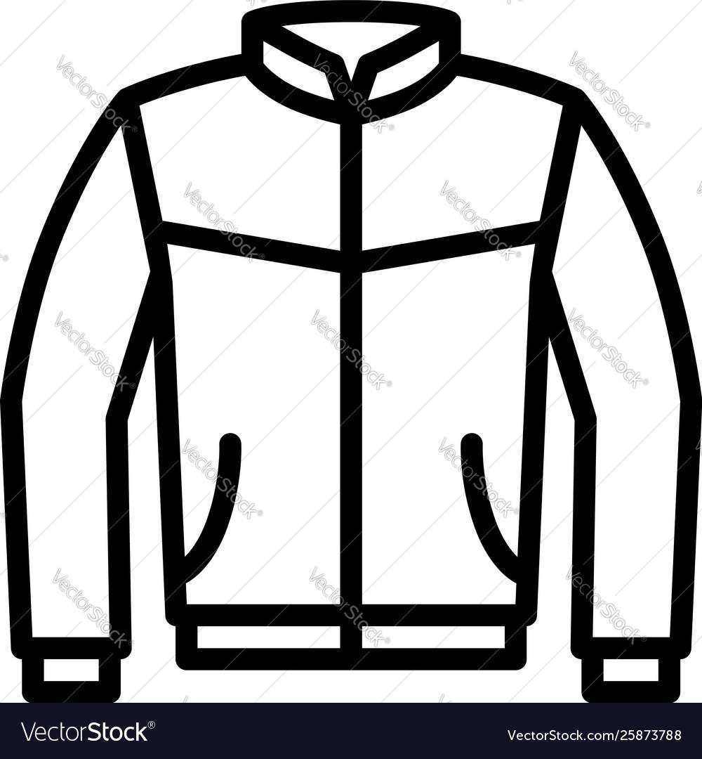 Leather bomber jacket or coat line icon