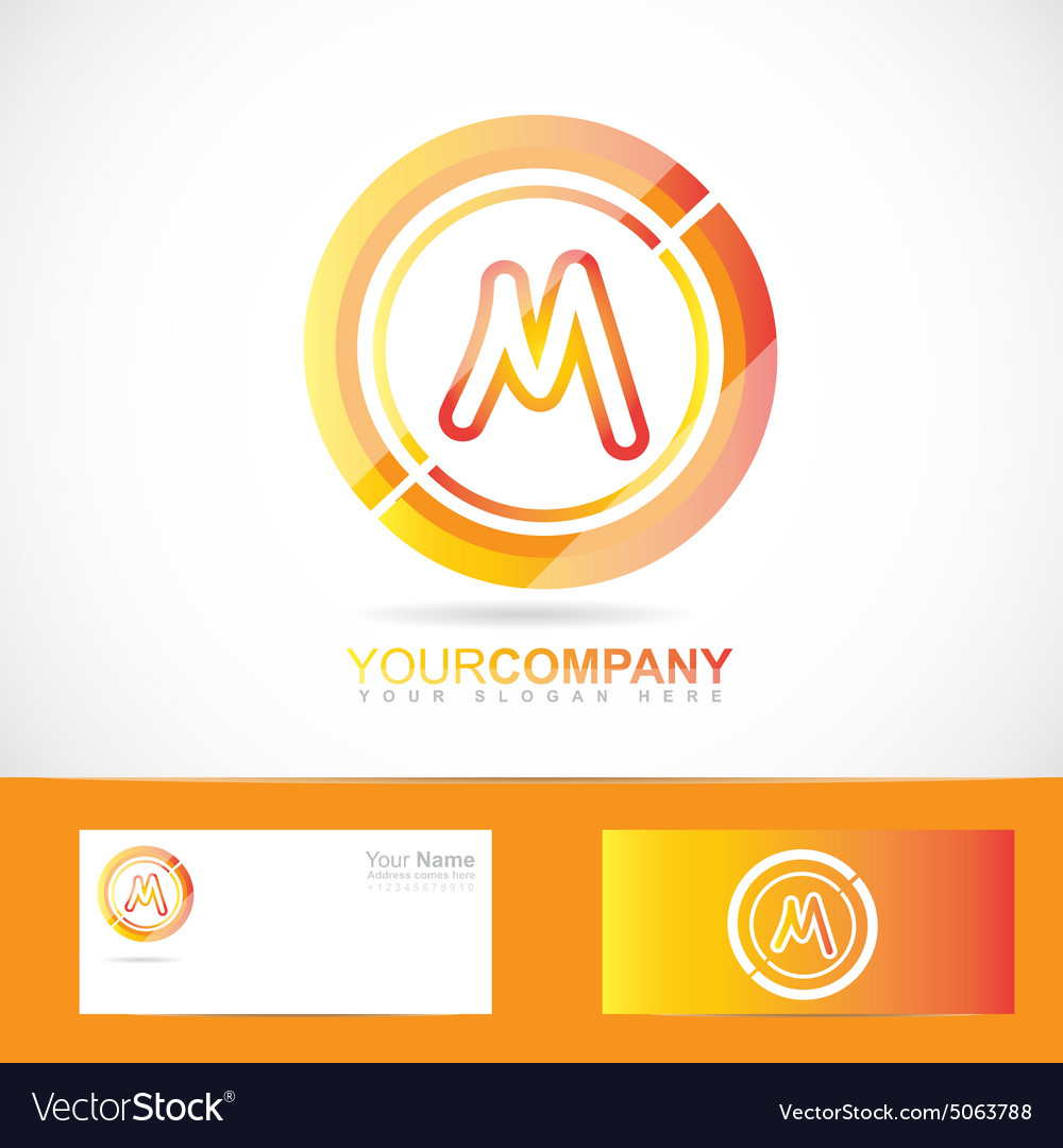 Letter M logo orange inside circle 3d vector image