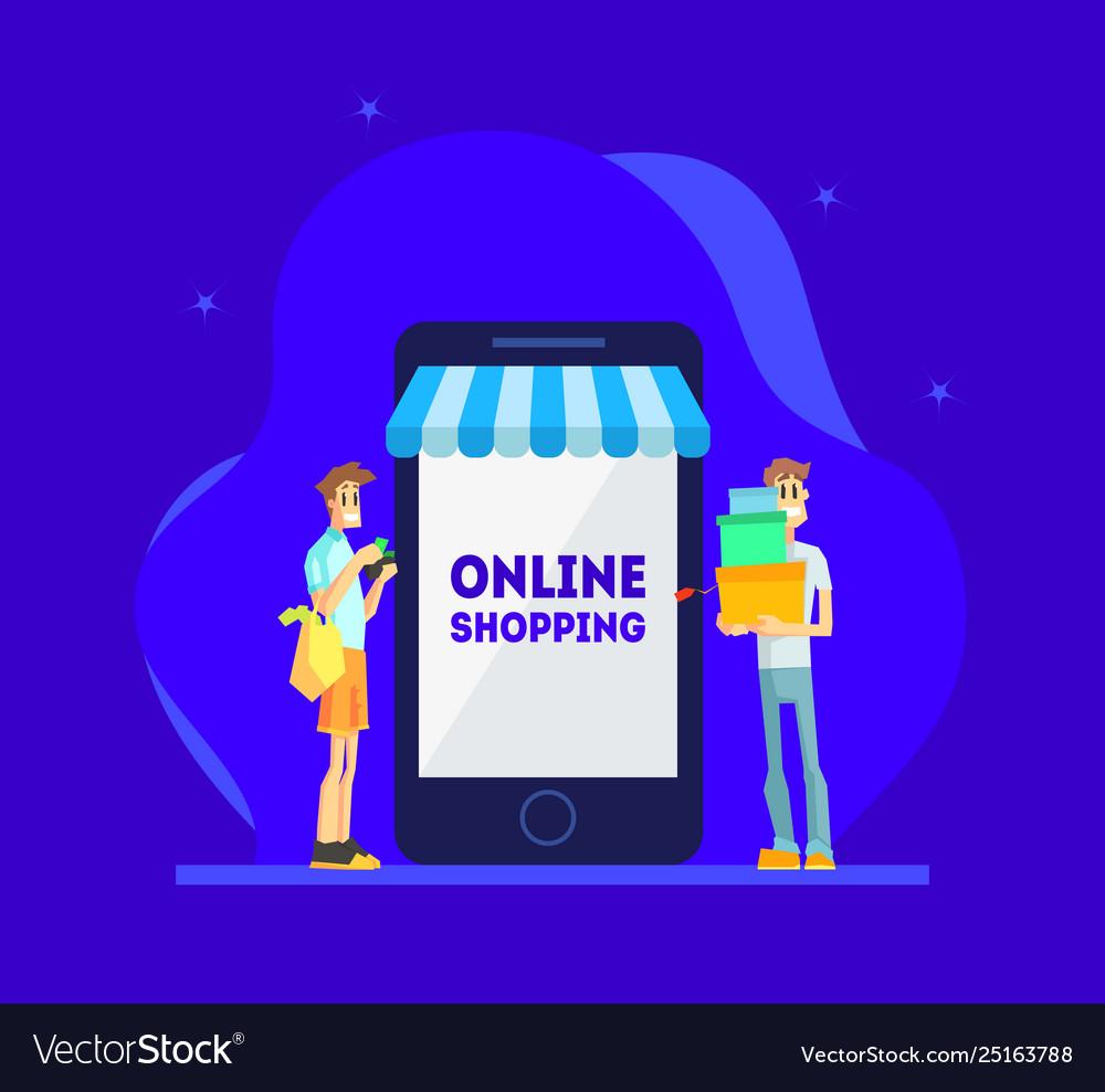 Online shopping concept men standing near giant