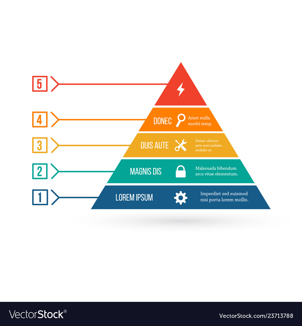 Pyramid infographic template with five elements
