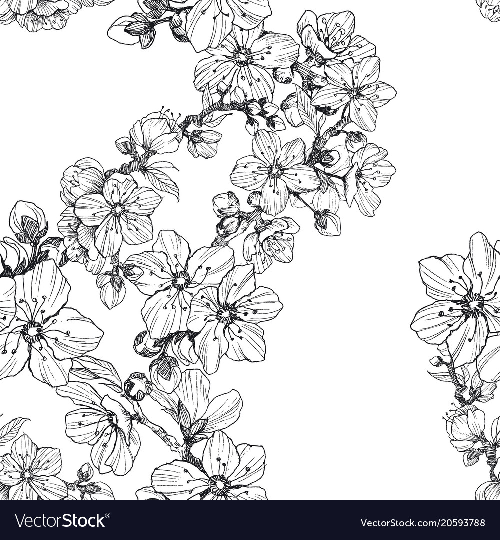 Seamless pattern almond blossom branches vintage