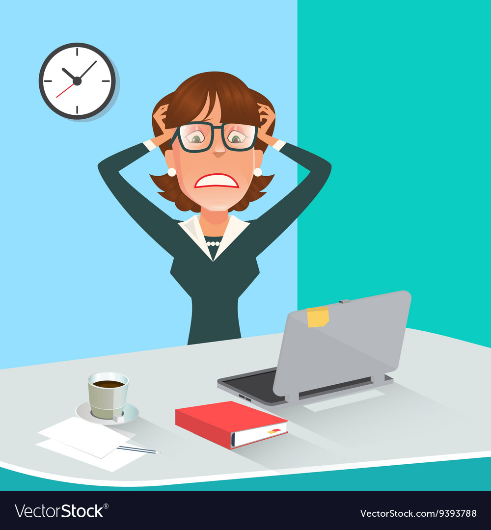 Stressed Businesswoman in Office Work Place