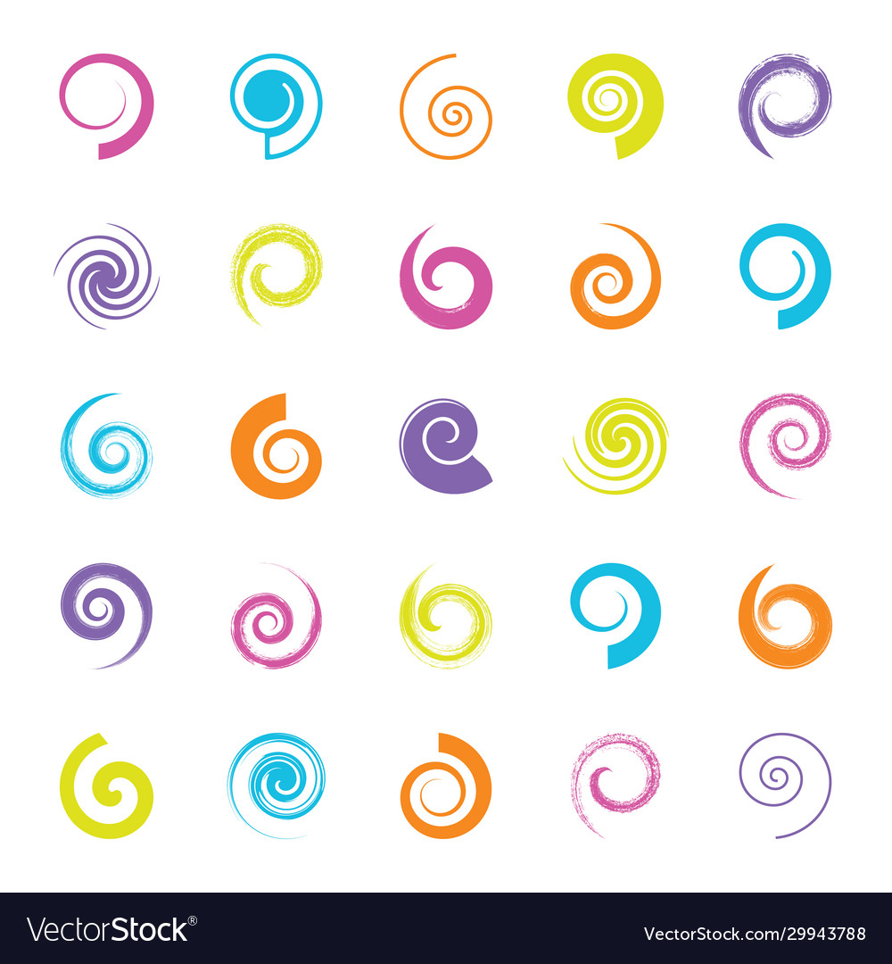 Various spiral design element set isolated