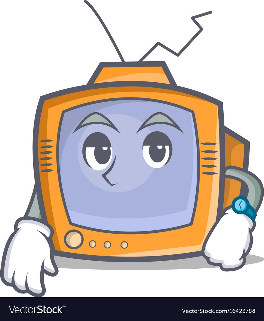 Waiting tv character cartoon object vector image