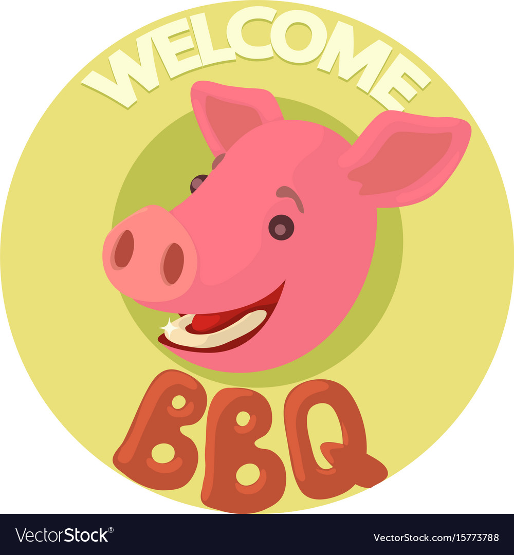 Welcome invitation to barbecue icon cartoon style vector image