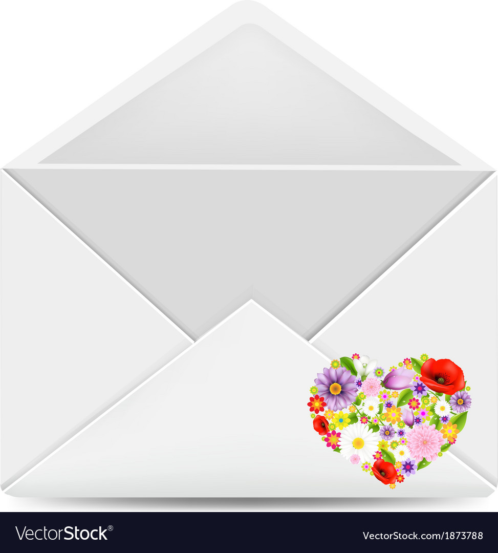 White Envelope With Flowers Heart Royalty Free Vector Image