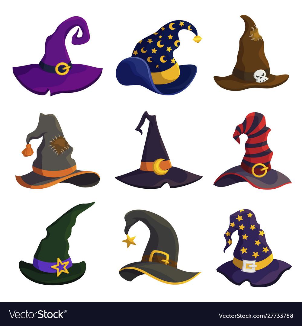 Wizard hats flat color set