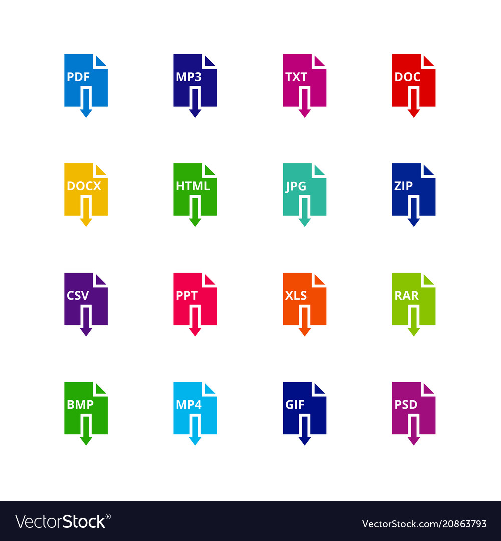 File format extensions icons pdf mp3 txt doc