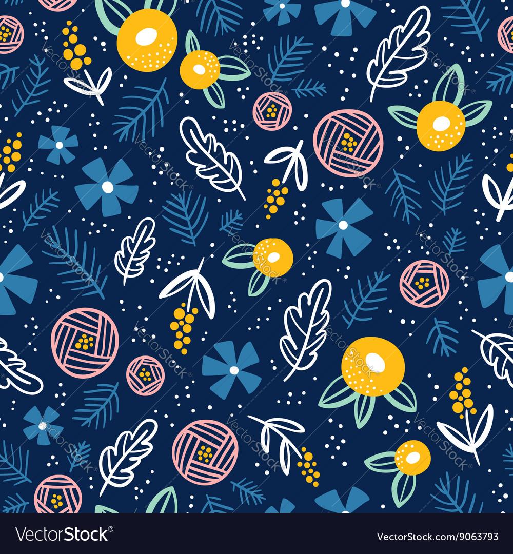 Floral doodle pattern on blue