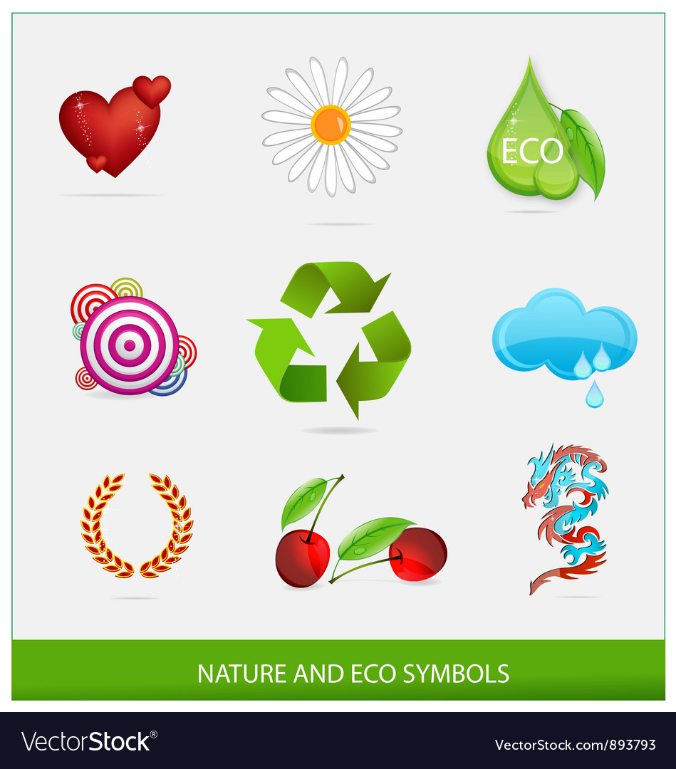 Glass ecology green symbols set isolated vector image