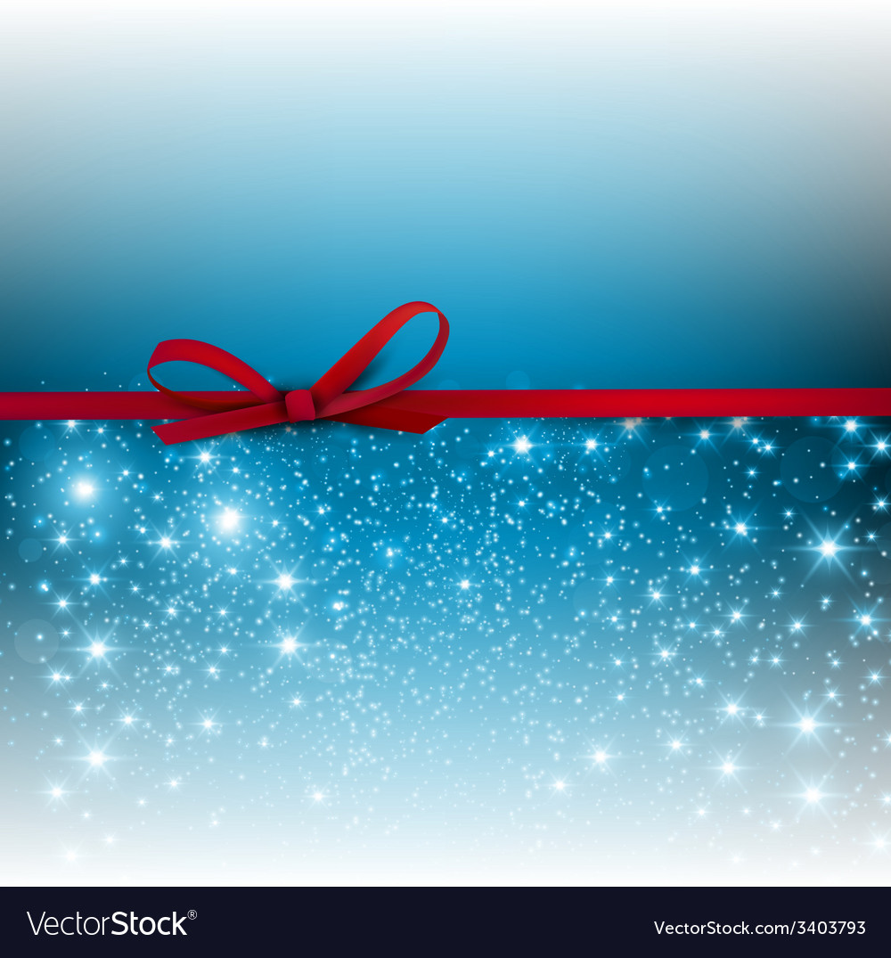 Gorgeous blue background with red bow and copy