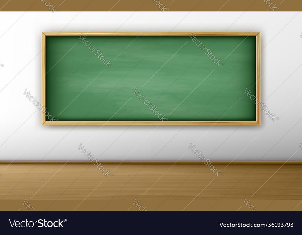 Green blackboard chalkboard in empty classroom