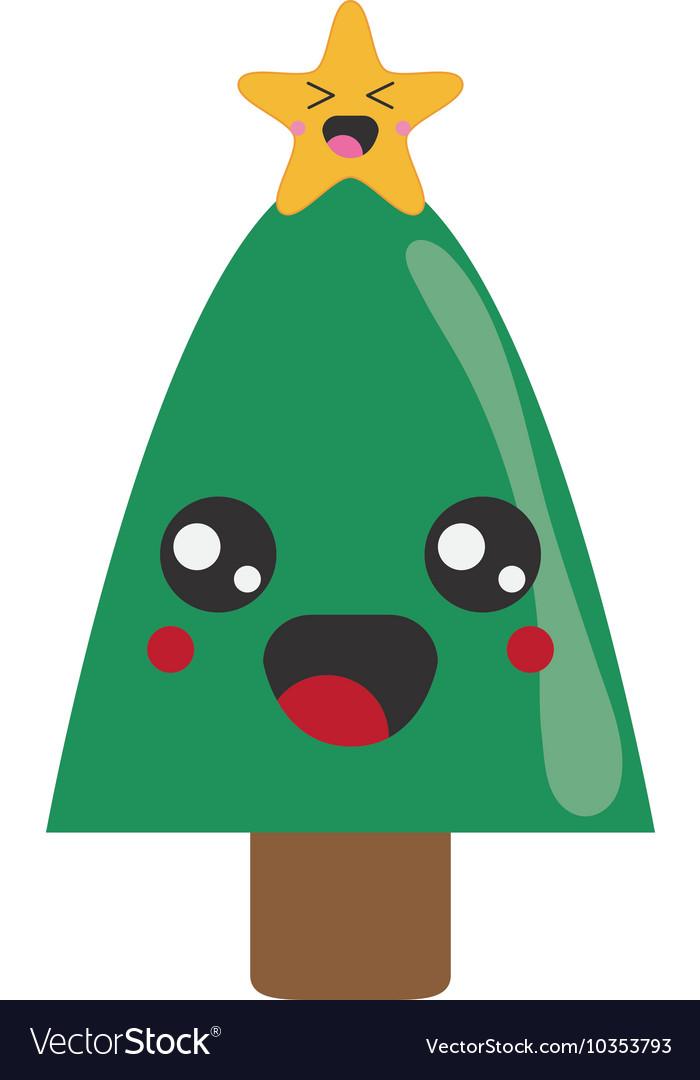 Kawaii Christmas Tree Icon Royalty Free Vector Image Animated gif images of christmas trees. vectorstock