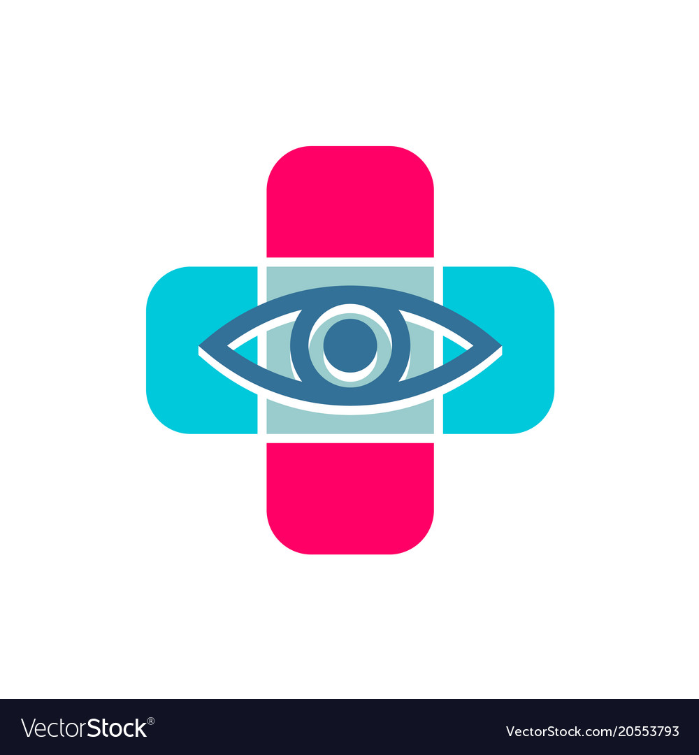 Medical cross with eye line icon optician symbol
