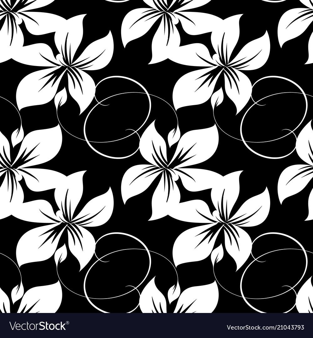 Monochrome floral seamless pattern