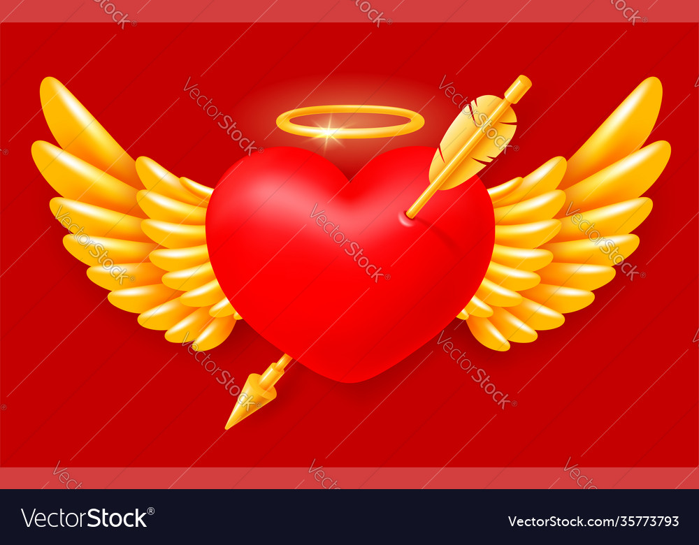 Pierced angel heart with wings and halo