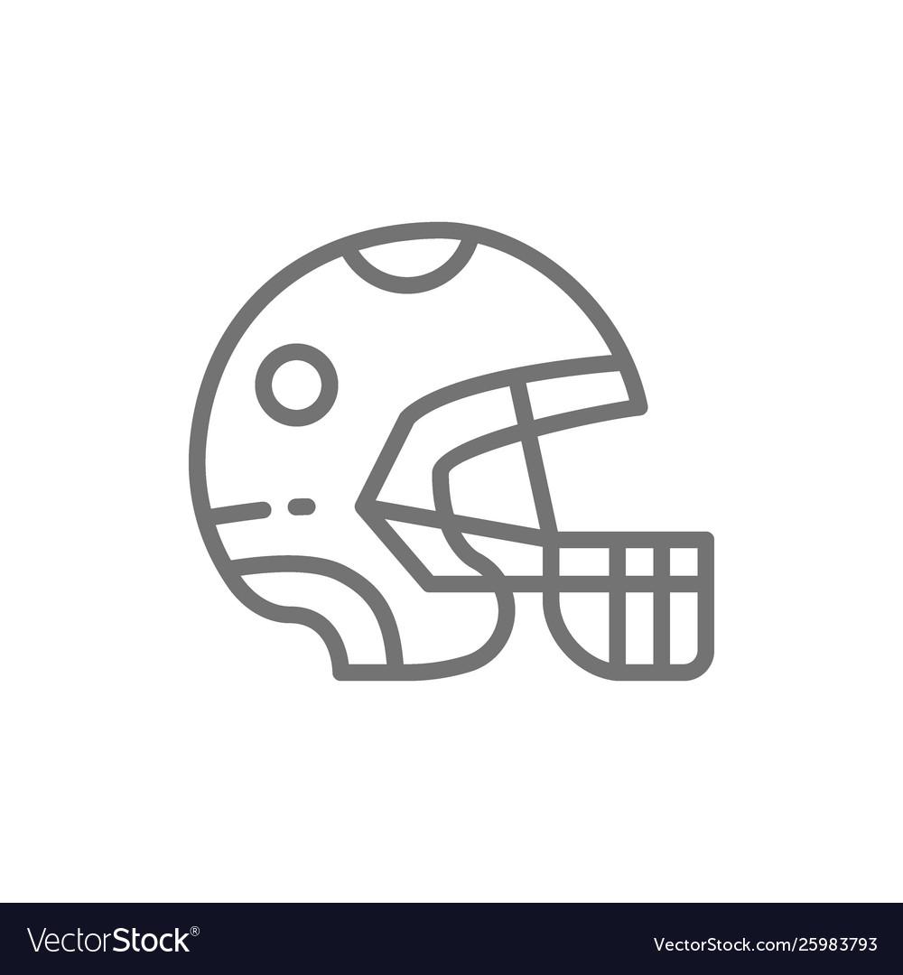Protective sport helmet game equipment line icon