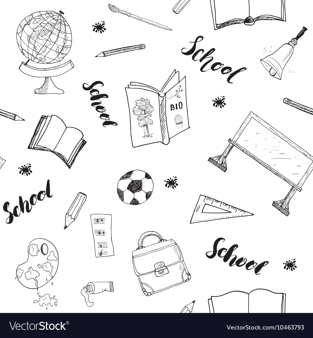 School seamless pattern HandDrawn Doodles