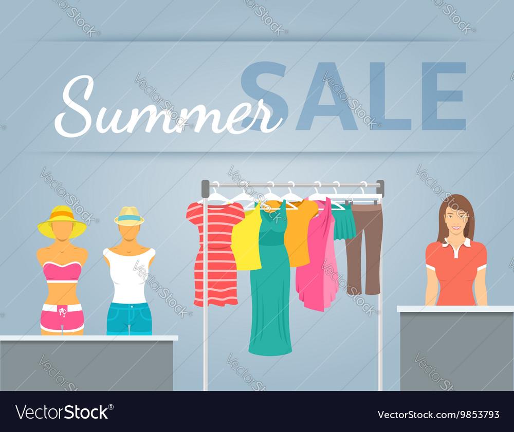 Women clothes collection in shop interior vector image