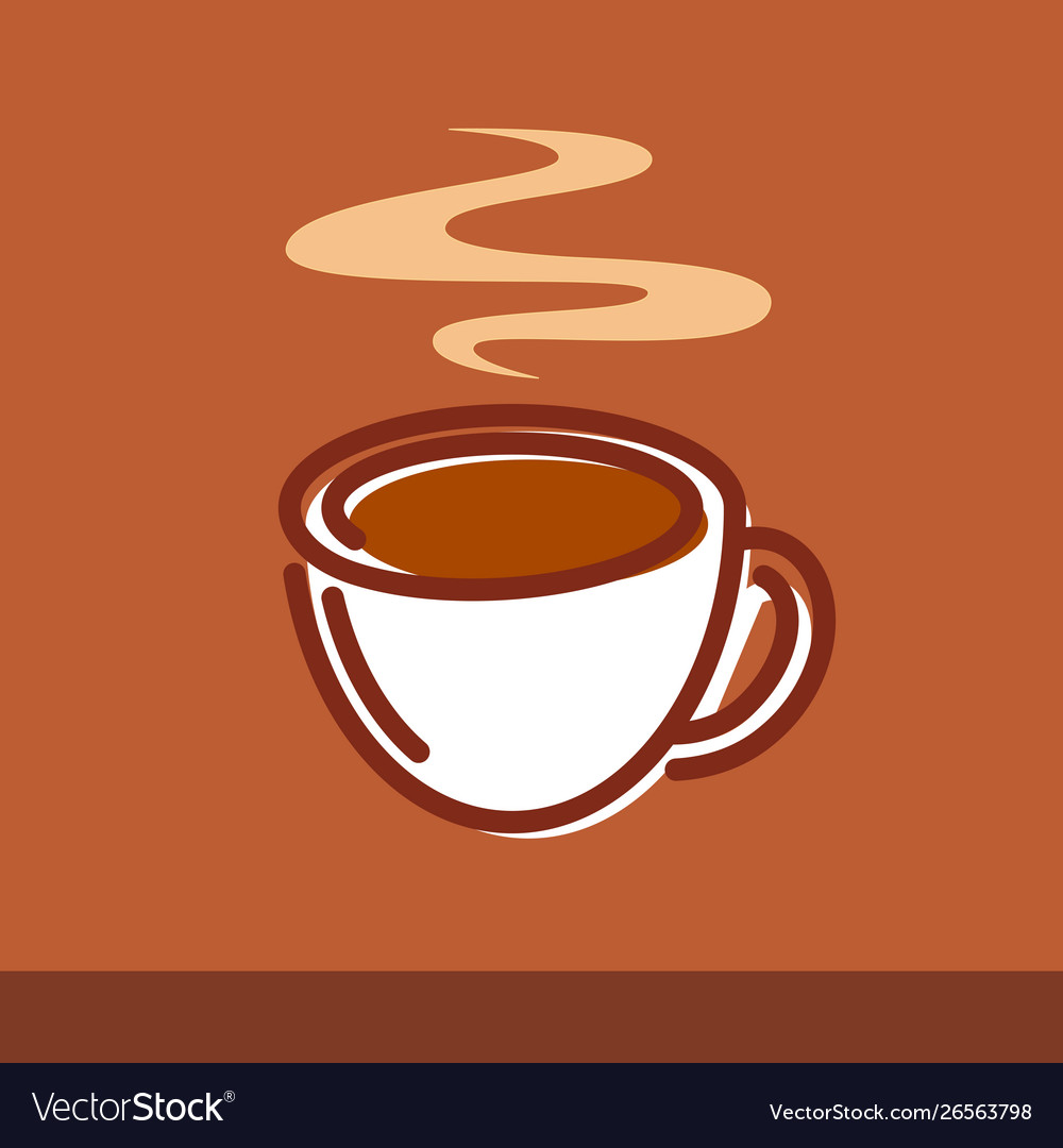 A cup coffee on brown