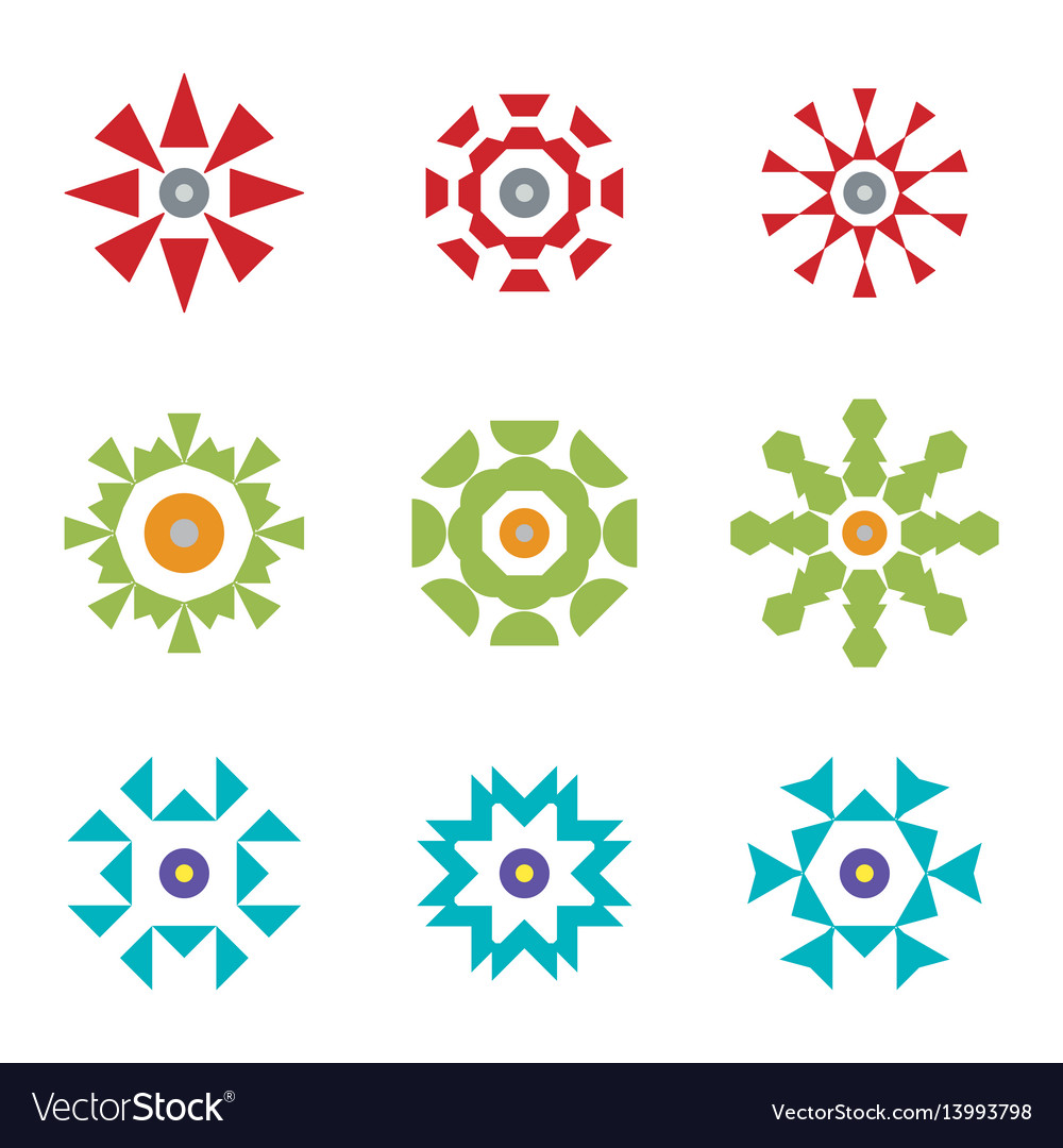 Abstract red green blue design icon logos set