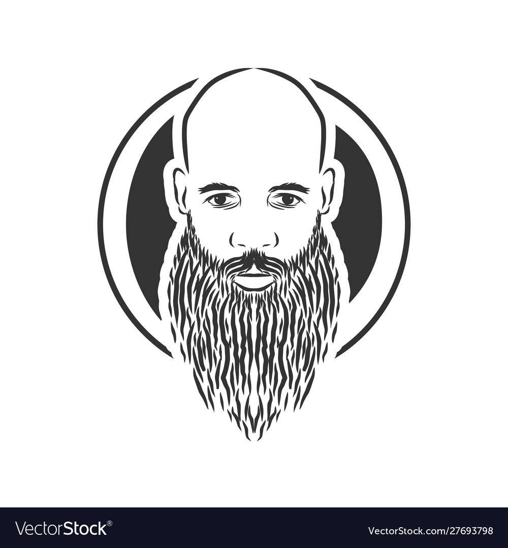 Bald man with beard vintage style
