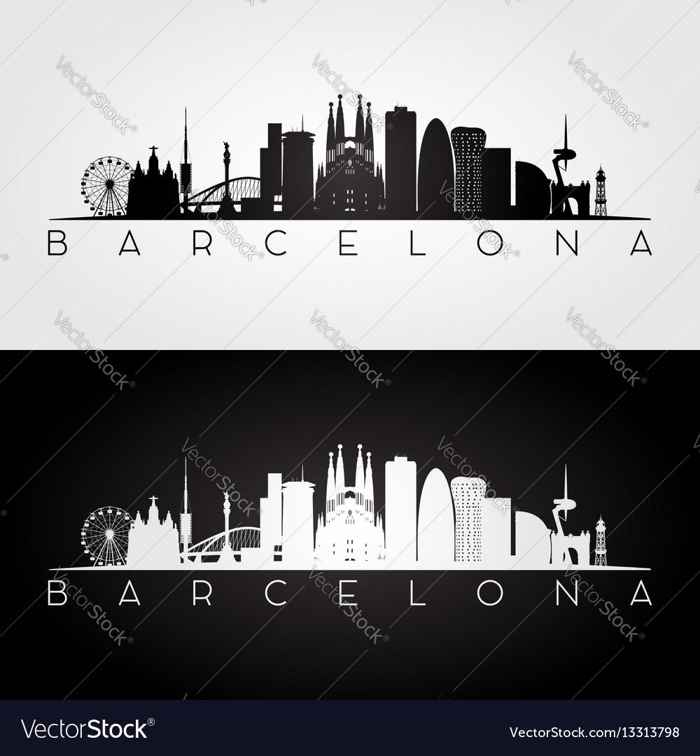 Barcelona skyline and landmarks silhouette