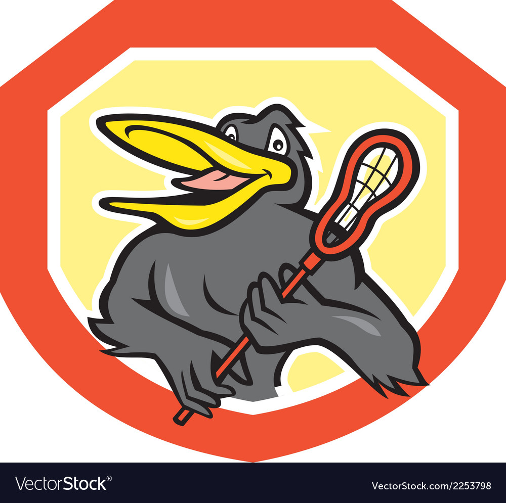 Black Bird Lacrosse Player Shield Cartoon vector image