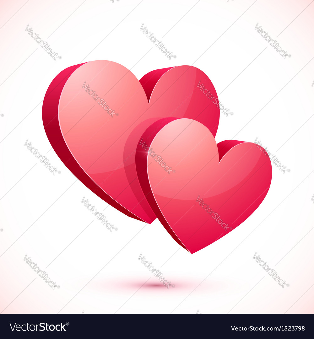 Bright red isolated hearts