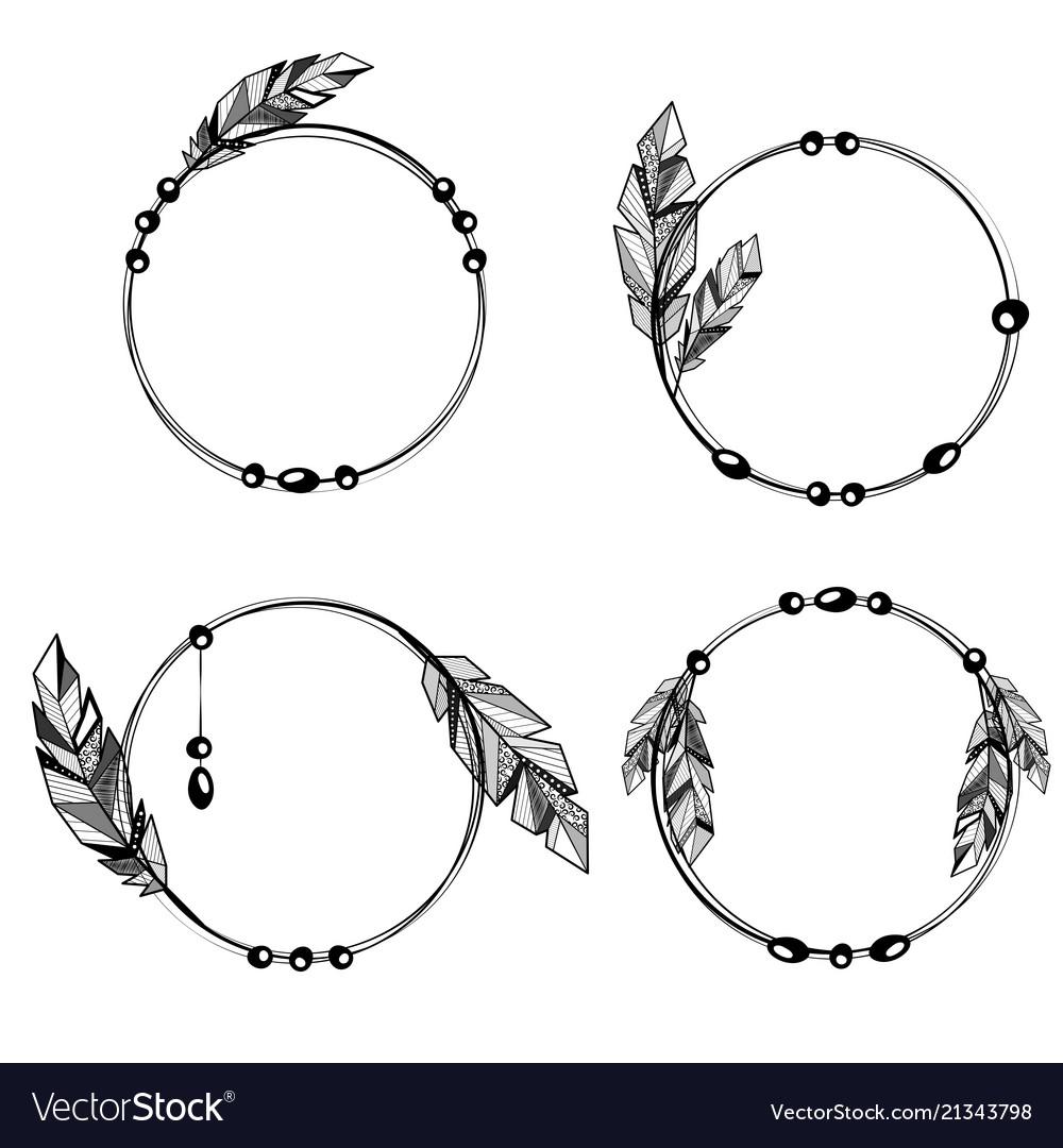 Feathers boho style circle frames Royalty Free Vector Image