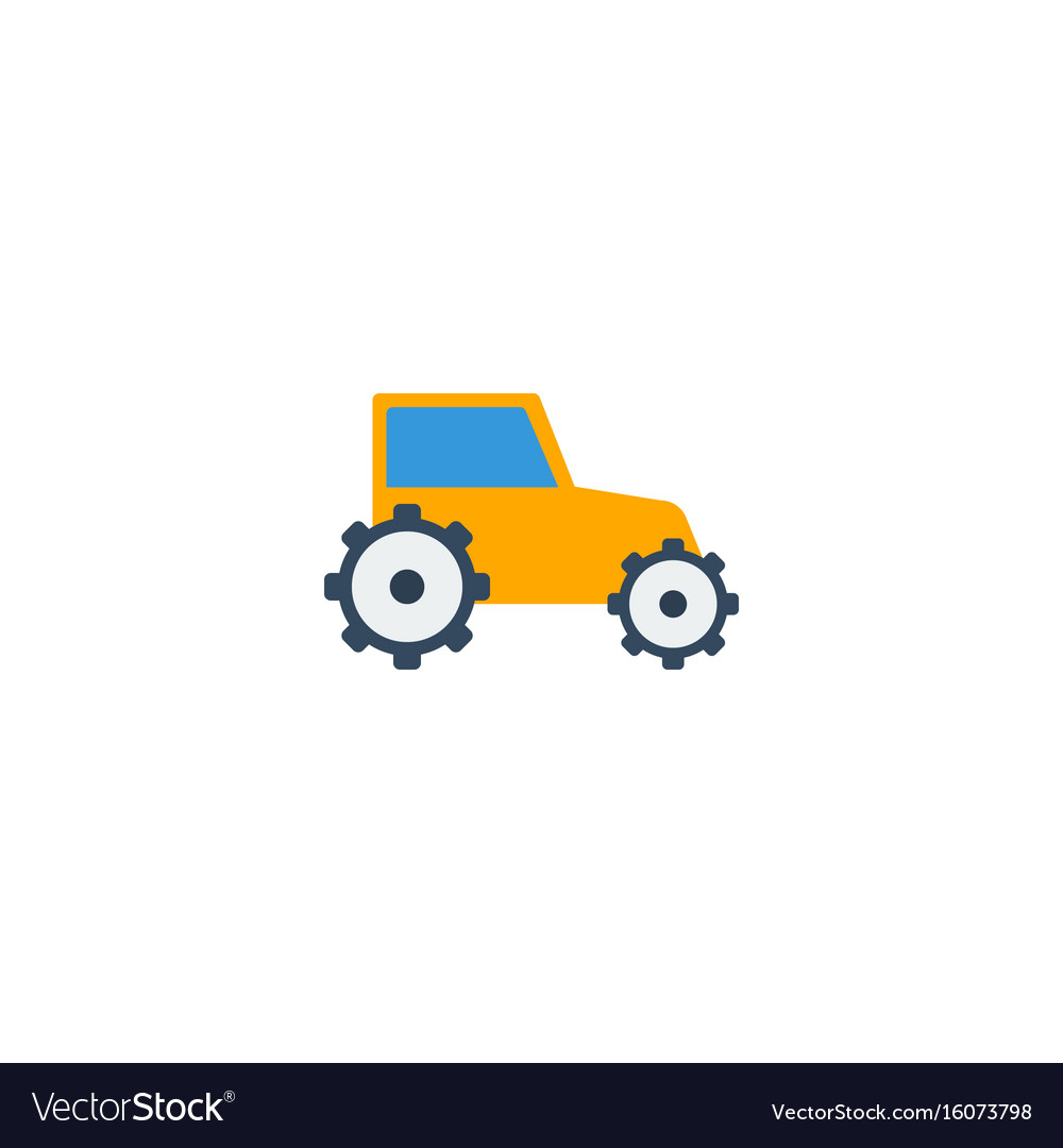 Flat icon tractor element of