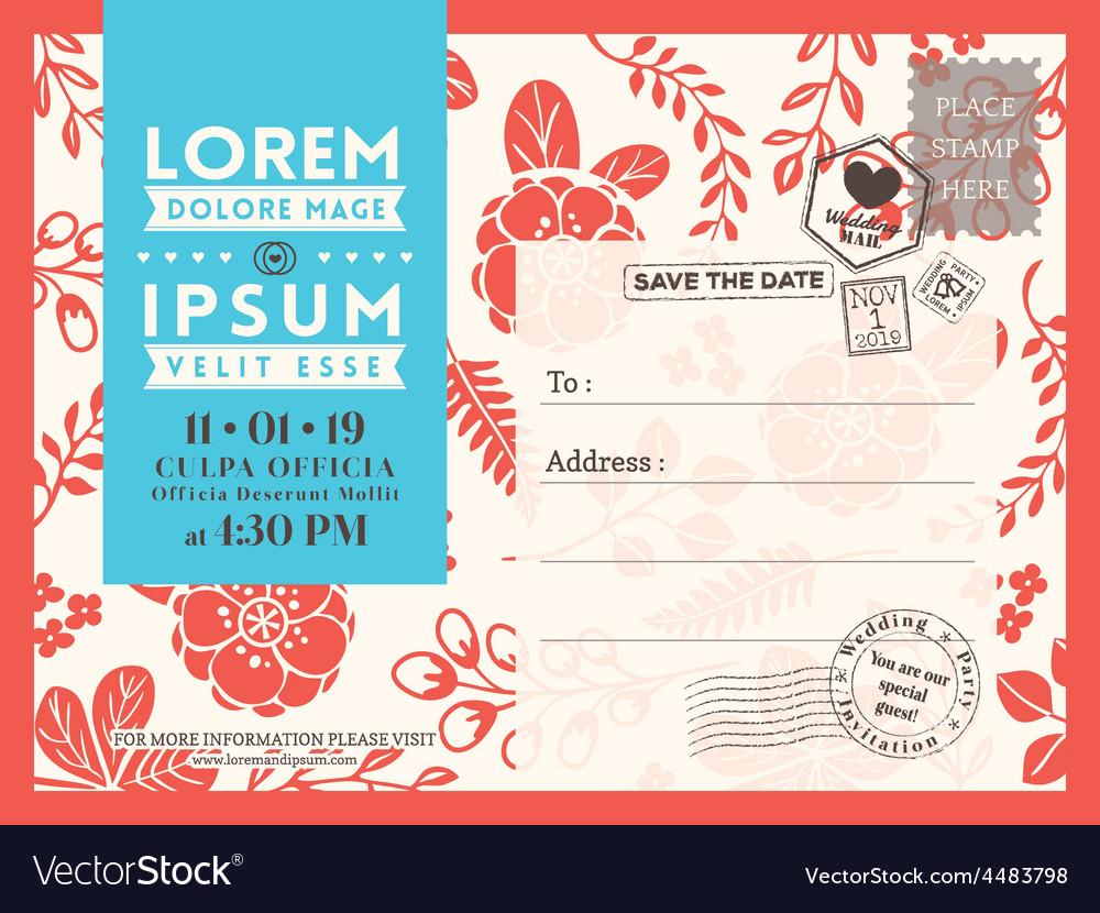 Floral wedding postcard background template