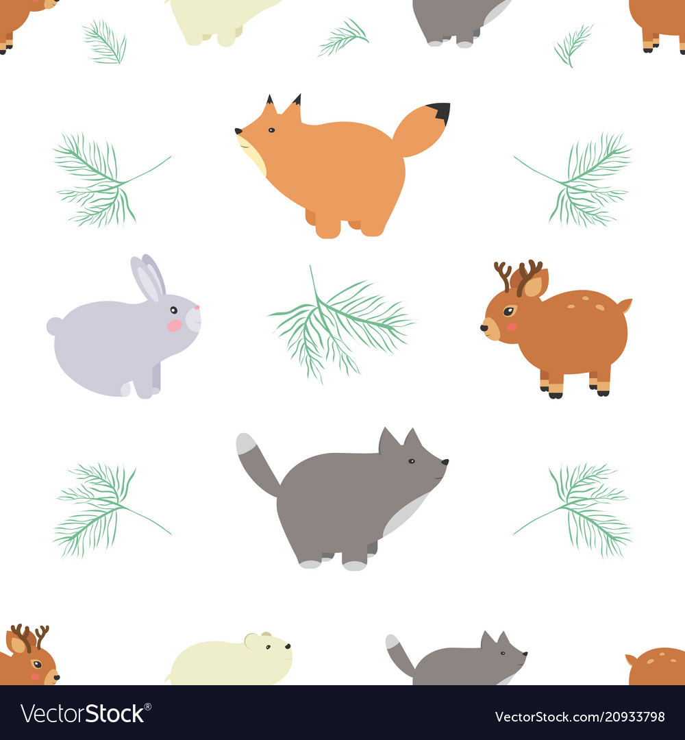 Forest seamless pattern with cute animals - fox