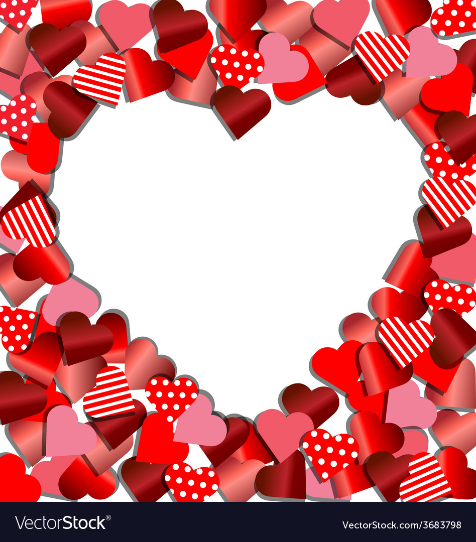 Heart frame from red paper for Valentine card Vector Image