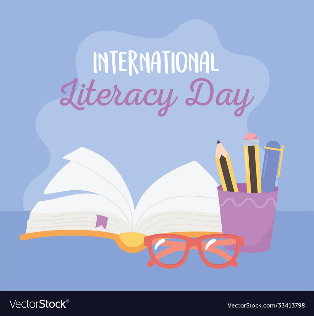 International literacy day open book pencils