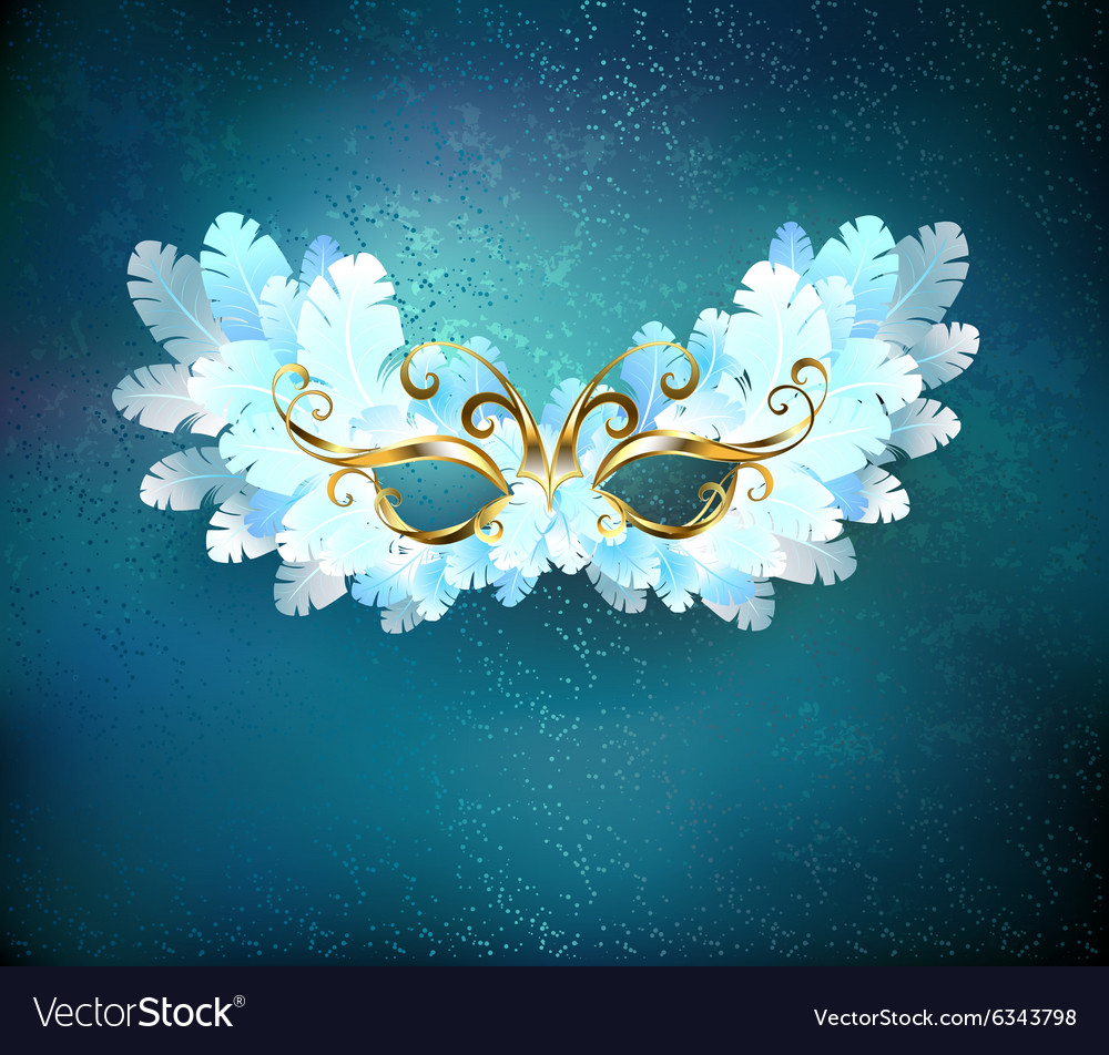 Mask of White Feathers vector image