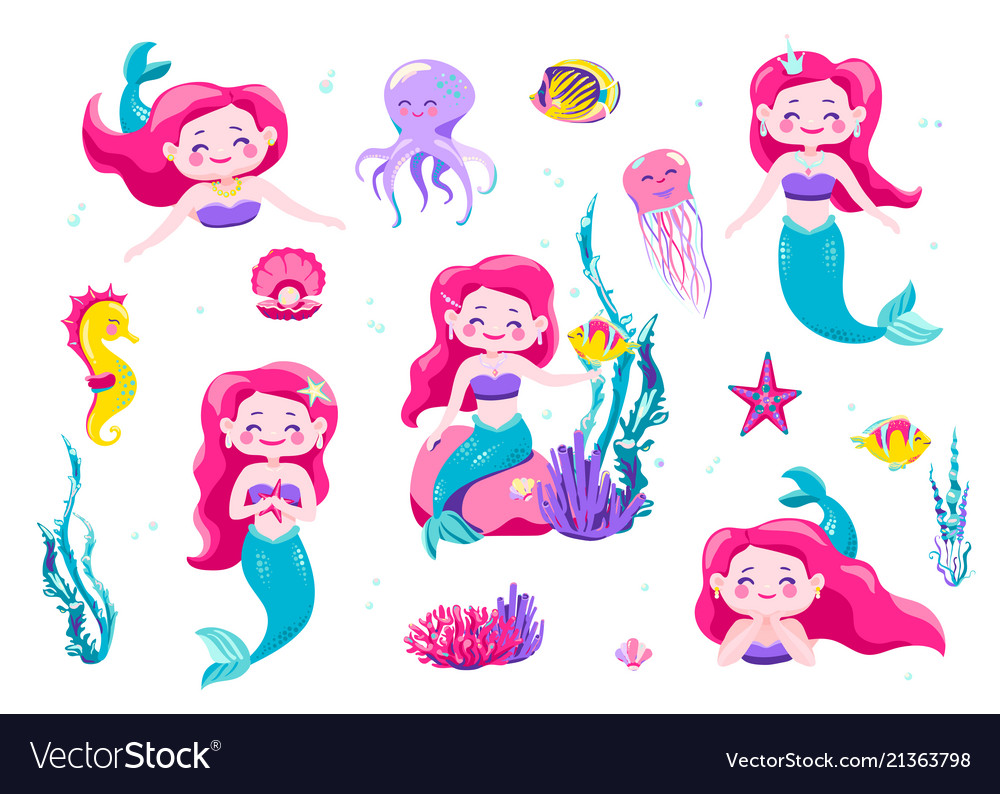 Mermaid cute stickers cartoon little princess